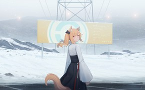 Картинка девушка, снег, горы, плакат, лиса, ушки