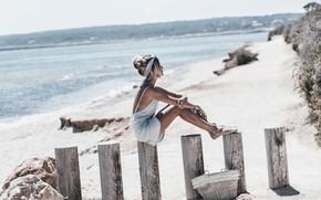Картинка море, пляж, лето, девушка