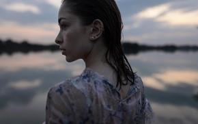 Картинка девушка, мокрая, веснушки, профиль, Aleks Five, Елизавета Трофимова