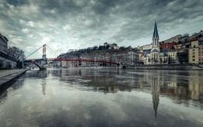 Картинка мост, река, Франция, Лион