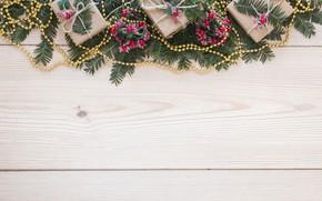Картинка праздник, новый год, подарки, бусы, Wood, декор, New year, Gift