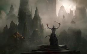 Картинка Туман, Город, City, Fantasy, Архитектура, Арт, Art, Landscape, Фантастика, Персонаж, Кинжал, Дворцы, Environments, Sergey Vasnev, …