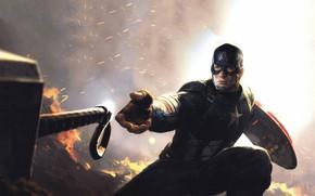 Картинка огонь, молот, герой, мужчина, Captain America, Avengers, Chris Evans