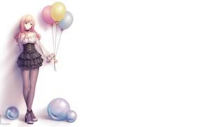 Картинка девушка, шарики, фон