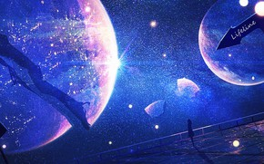 Картинка девушка, космос, планеты, by Lifeline