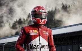 Картинка Дождь, Шлем, Формула 1, Шумахер, Michael Schumacher, Михаэль Шумахер, Рендеринг, Schumacher, Ливень, Zoki Nanco, by ...