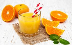 Картинка стакан, апельсины, сок, трубочка, фреш, апельсиновый, Olena Rudo