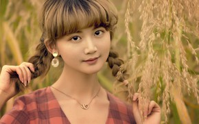 Картинка трава, девушка, украшения, природа, серьги, кулон, косички, шатенка, азиатка, цепочка
