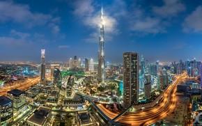 Картинка здания, дороги, дома, панорама, Дубай, ночной город, Dubai, небоскрёбы, ОАЭ, Бурдж-Халифа, Burj Khalifa, UAE