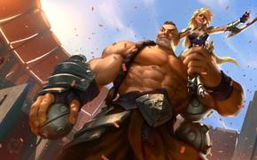 Картинка девушка, оружие, мужик, арена, Legends of Runeterra