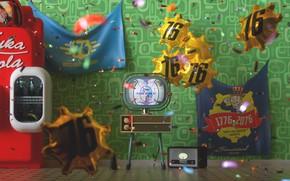 Картинка Шары, Шарики, Телевизор, Праздник, Fallout, Bethesda Softworks, Nuka Cola, Bethesda, Bethesda Game Studios, Vault Boy, …
