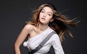 Картинка взгляд, девушка, лицо, поза, фото, модель, волосы, Gigi Hadid