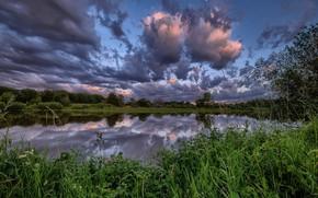 Картинка небо, облака, озеро, Франция, Виллар-ле-Домб