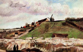 Картинка мельница, Vincent van Gogh, of Montmartre with Quarry, The Hill