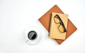 Картинка кофе, очки, чашка, белый фон, блокнот, тетрадь, блюдце