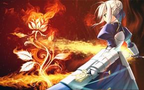Картинка цветок, девушка, меч, рыцарь, сейбер, Судьба ночь схватки, Fate / Stay Night