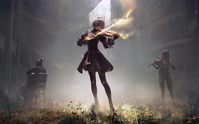 Картинка music, girl, fantasy, anime, Nier, violin, cello, artwork, fantasy art, playing, illustration, anime girls, characters, …