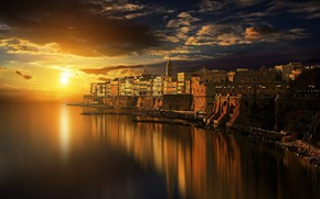 Картинка море, небо, вода, закат, город, Италия, Antonio Amati