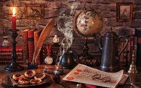 Картинка стиль, перо, часы, книги, свеча, очки, газета, картины, натюрморт, глобус, подсвечник, чернильница, кофейник, курительная трубка