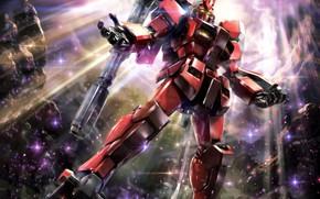 Картинка свет, робот, одуванчики, Mobile Suit Gundam
