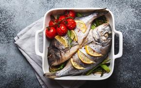 Картинка фон, две, полотенце, рыба, форма, помидоры, лимоны, подача, запеченная