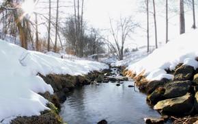 Картинка зима, снег, ручей, камни