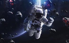 Картинка Звезды, Скафандр, Человек, Планета, Космос, Астронавт, Костюм, Космонавт, Арт, Stars, Space, Art, Planet, Universe, Galaxy, …
