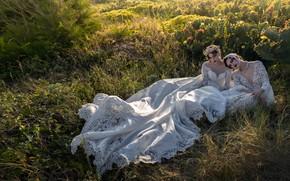 Картинка трава, поза, стиль, настроение, кактусы, две девушки, модели, свадебное платье