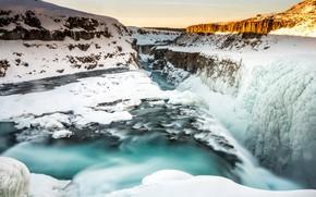 Картинка холод, зима, небо, вода, снег, пейзаж, горы, природа, река, камни, скалы, зимний, водопад, поток, освещение, …