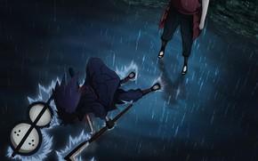 Картинка Вода, Дождь, naruto, ураганные хроники, мадара учиха, Хаширама Сенджу
