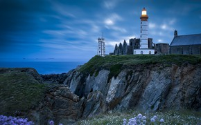 Картинка море, свет, пейзаж, закат, дом, скалы, берег, Франция, маяк, Бретань, Pointe Saint Mathieu