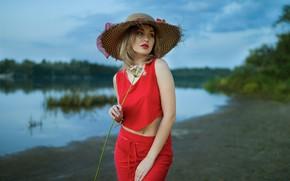 Картинка секси, поза, шляпа, в красном, Nastya, Andrew Filonenko