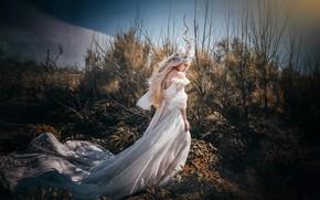 Картинка небо, девушка, свет, ветки, природа, лицо, поза, стиль, заросли, фея, блондинка, костюм, наряд, рога, образ, …