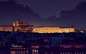 Картинка Дома, Ночь, Город, Дворец, Прага, Чехия, Замок, Вид, Стиль, Здания, City, Пейзаж, Архитектура, Арт, Art, …