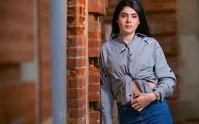 Картинка девушка, поза, джинсы, брюнетка, рубашка, боке, Hermance