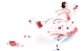 Картинка девушка, цветы, платье