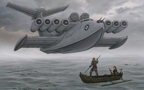 Картинка лодка, арт, полёт, фантаcтика, экраноплан