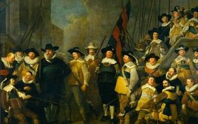 Картинка масло, картина, Амстердам, холст, 1642, Jacob Adriaensz Backer, Солдаты и офицеры 'Compagnie Kloveniers' под коман