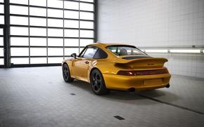 Картинка жёлтый, Porsche, кузов, вид сзади, 993, 911 Turbo