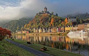 Картинка лес, река, замок, гора, дома, Германия, Кохем