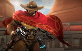 Картинка шляпа, сигара, револьвер, cowboy, Overwatch, McCree, Jesse McCree