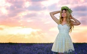 Картинка лето, небо, цветы, макияж, венок, лаванда