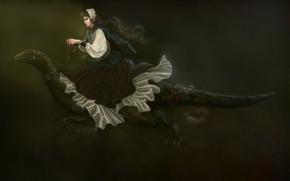 Картинка девушка, динозавр, эльфийка, наезница