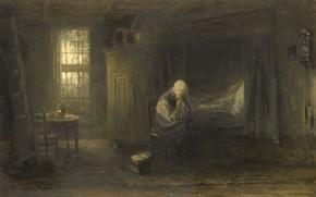 Картинка масло, картина, холст, 1878, Йосеф Исраэлс, Jozef Israels, Одна в Мире