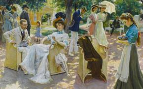 Картинка gouache, German painter, немецкий живописец, Середина лета, Oscar Bluhm, Midsummer day, Оскар Блум