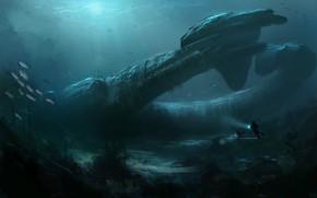 Картинка Океан, Рыбы, Море, Глубина, Дно, Fish, Art, Космический Корабль, Alien, spaceship, Illustration, Prometheus, Juggernaut Ship, …