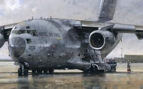 Картинка самолет, рисунок, Boeing, аэродром, священник, C-17 Globemaster, военно-транспортный, церемония, RAF