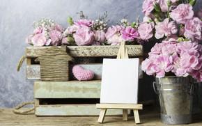 Картинка любовь, цветы, сердце, лепестки, ведро, love, розовые, vintage, heart, wood, pink, flowers, beautiful, romantic