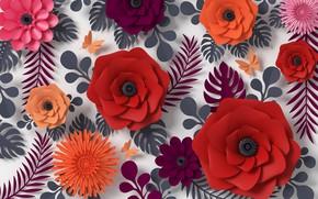 Картинка цветы, рендеринг, узор, colorful, butterfly, flowers, композиция, rendering, paper, composition, floral