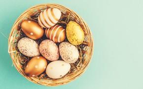 Картинка фон, яйца, Пасха, happy, корзинка, eggs, easter, decoration, basket